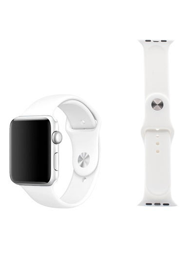 Jacobson Apple Watch Kordon  Seri 42 Mm Ve 44 Mm Silikon Kordon Kayış KRDN-4 Beyaz